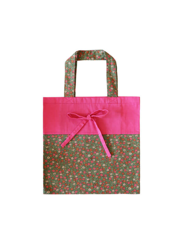 Pink/green foldable tote bag, upcycled cotton, Mitzie Mee Shop